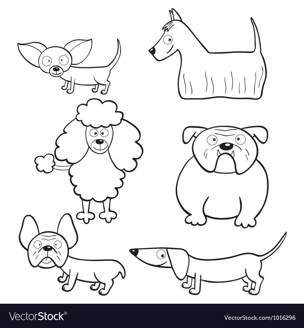 Coloring book with cartoon dogs vector | Price: 1 Credit (USD $1)