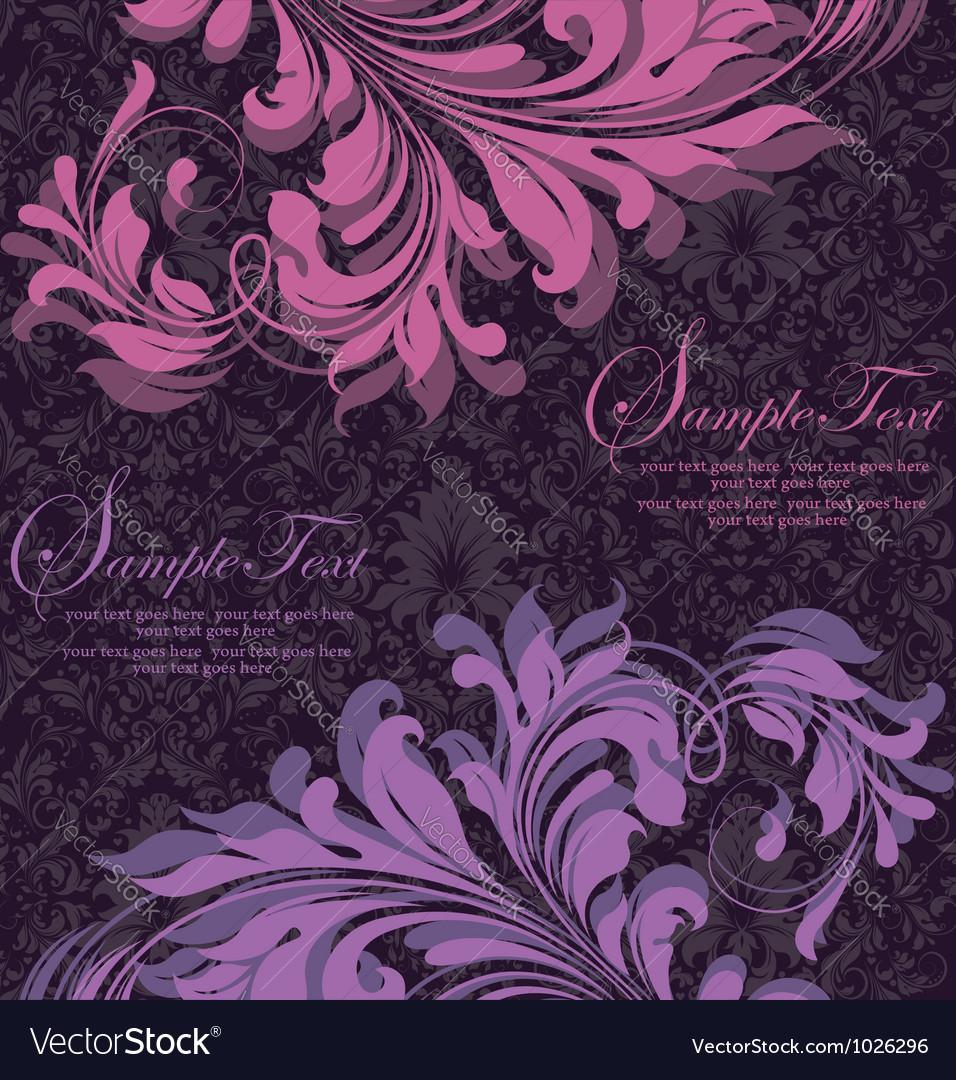 Damask invitation floral card vector | Price: 1 Credit (USD $1)