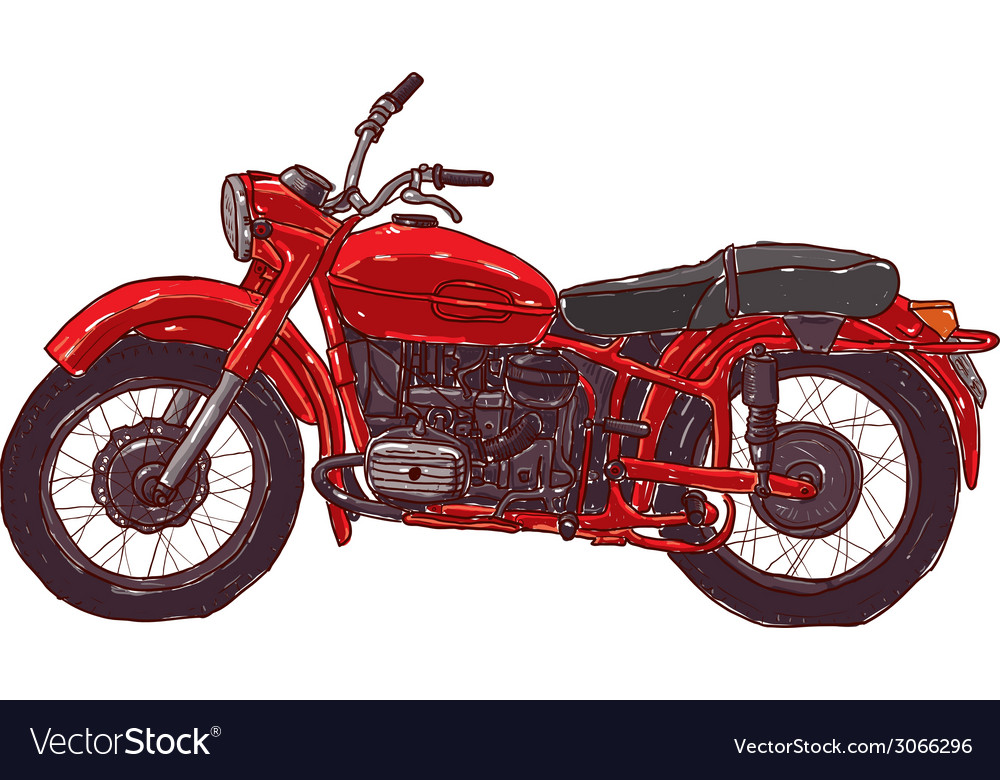 Doodle sketch red vintage motorcycle on a white vector | Price: 1 Credit (USD $1)