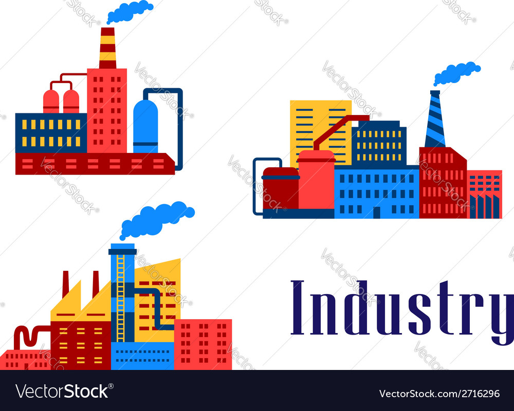 Flat factory industrial buildings vector | Price: 1 Credit (USD $1)