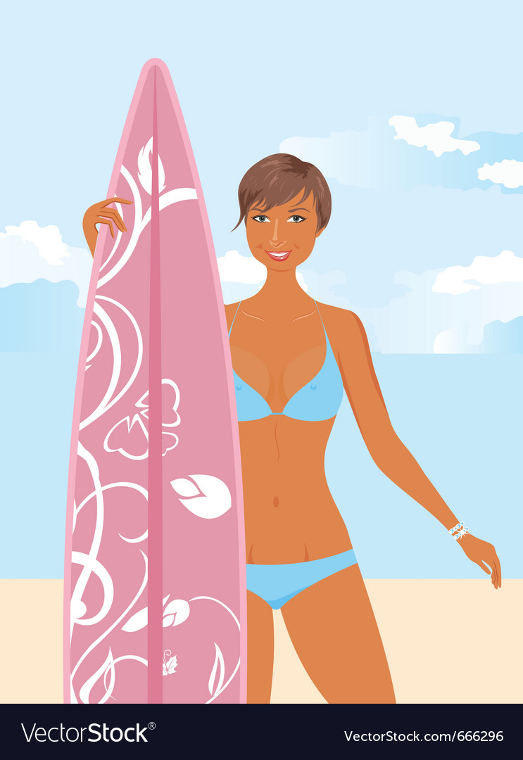 Girl with surfboard vector | Price: 3 Credit (USD $3)
