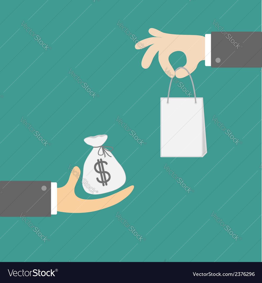 Hands with money and shopping bag exchanging vector | Price: 1 Credit (USD $1)