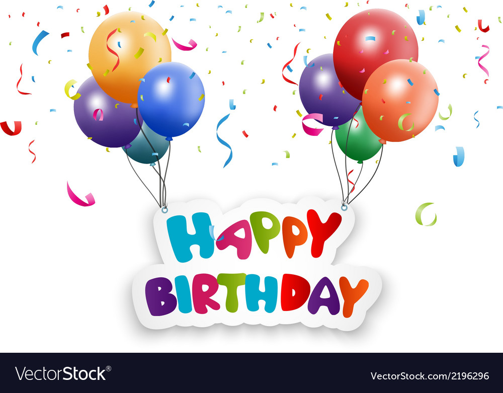 Happy birthday card with balloon and confetti vector | Price: 1 Credit (USD $1)