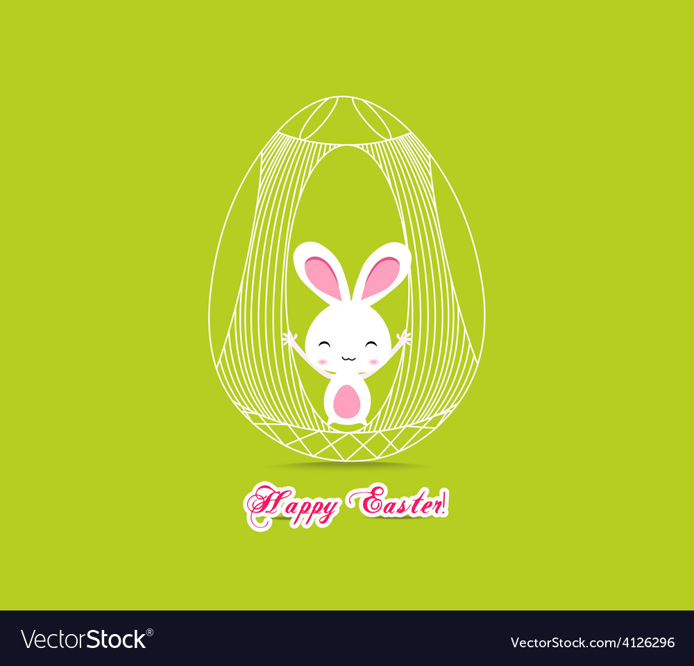 Happy easter with bunny inside egg cage vector | Price: 1 Credit (USD $1)