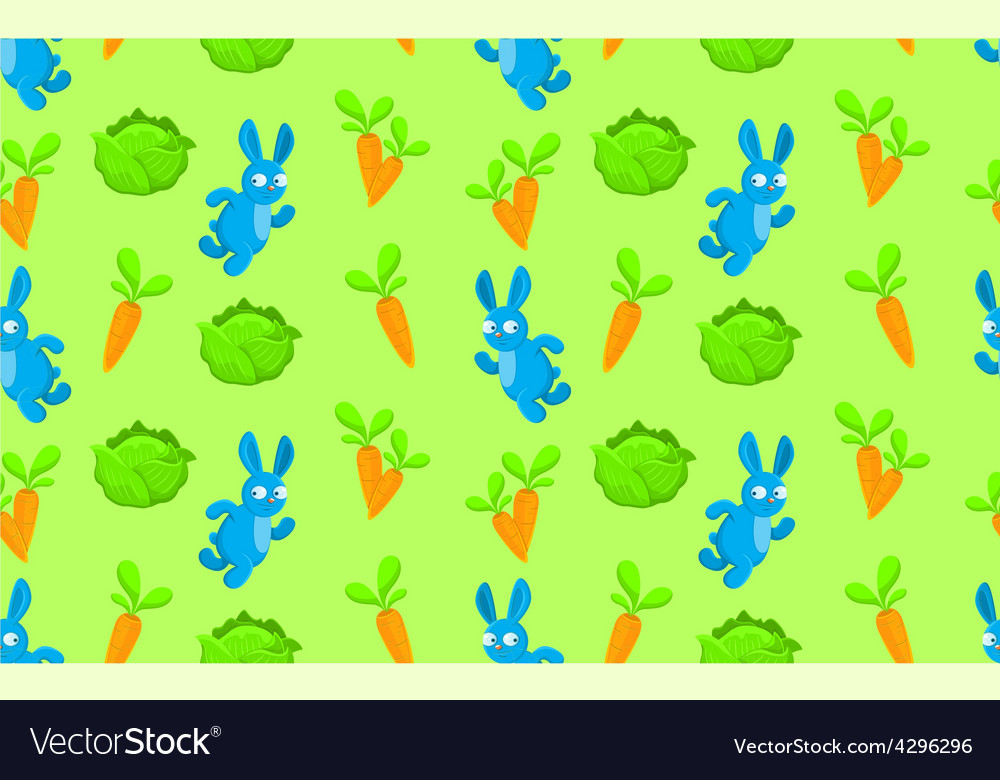 Pattern rabbit carrot and cabbage vector | Price: 1 Credit (USD $1)