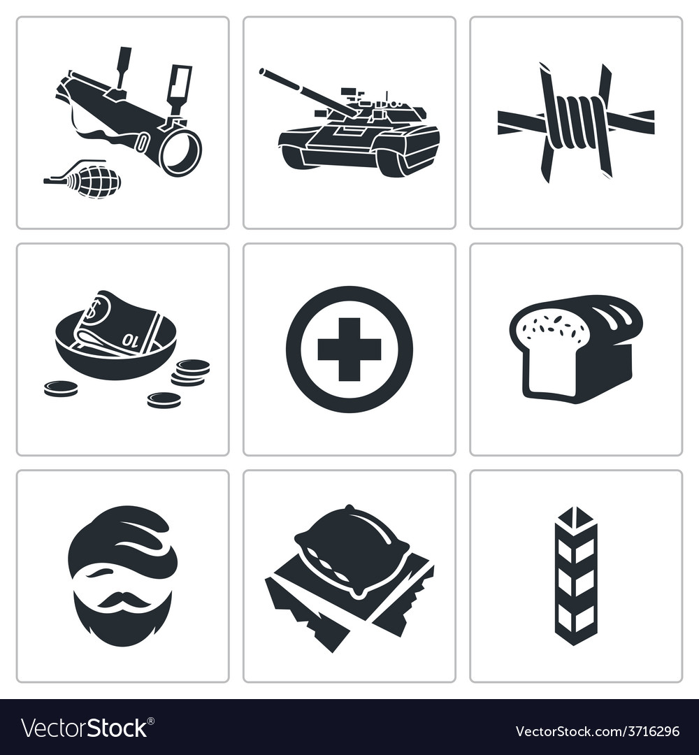 Refugees and fighting icons set vector | Price: 1 Credit (USD $1)