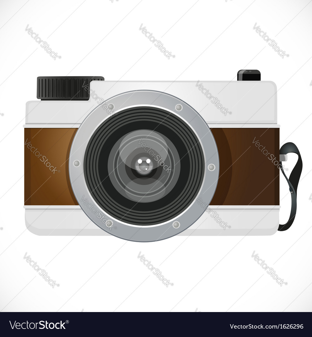 Retro camera isolated on white background vector | Price: 1 Credit (USD $1)