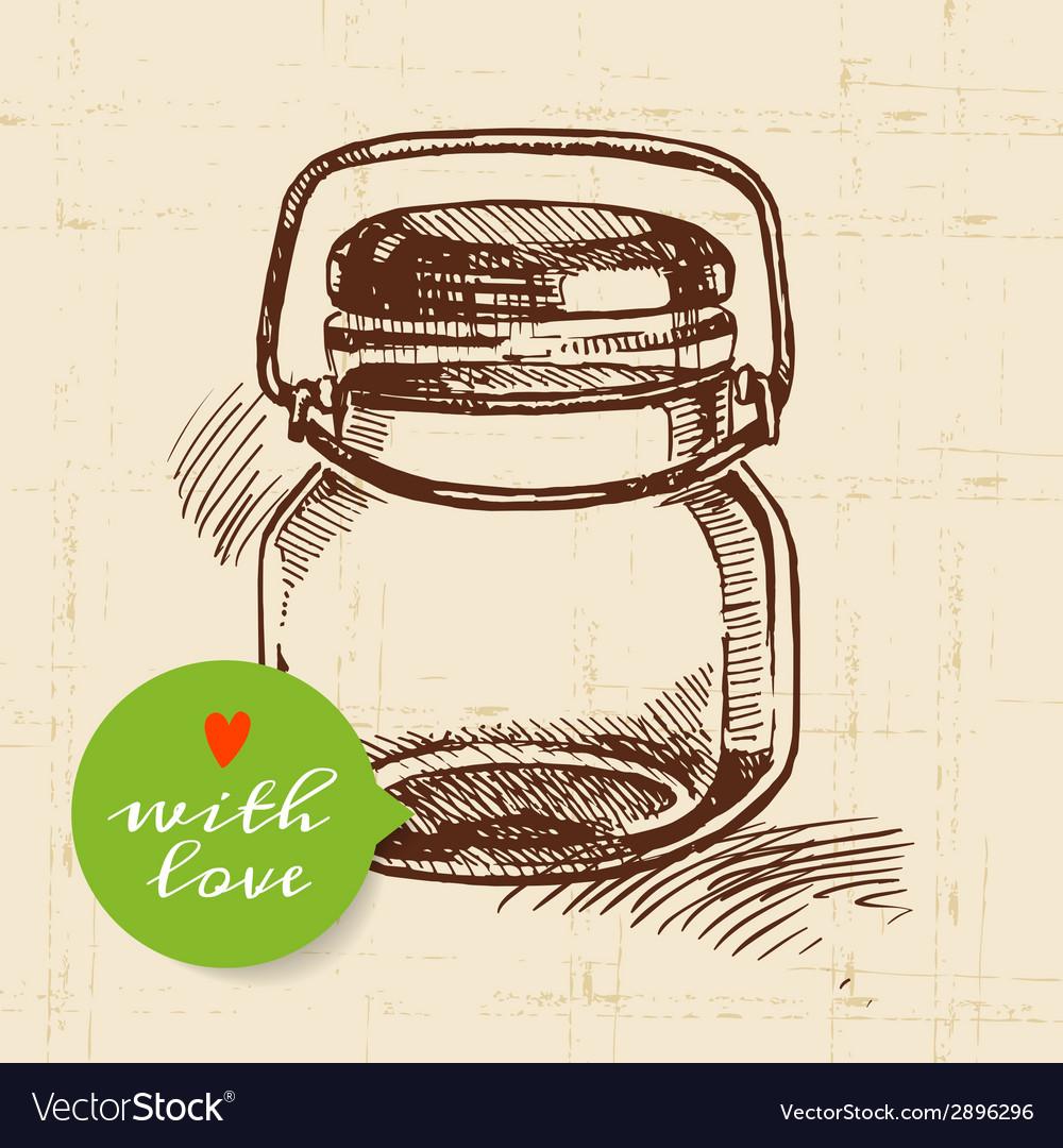 Rustic mason canning jar vintage hand drawn sketch vector | Price: 1 Credit (USD $1)