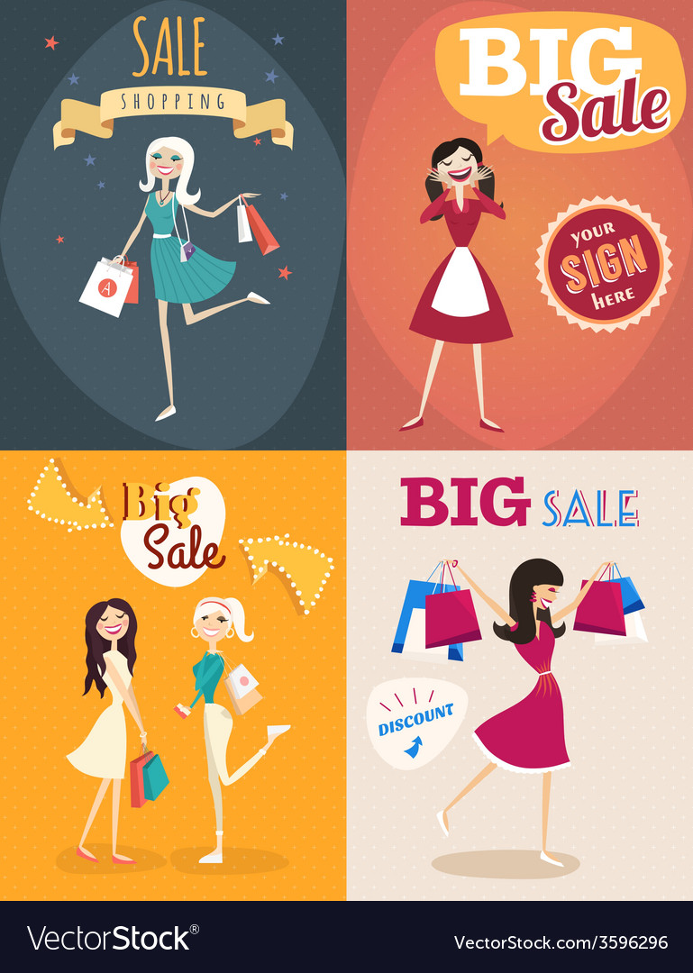Set of sale posters in retro style girl or woman vector | Price: 1 Credit (USD $1)