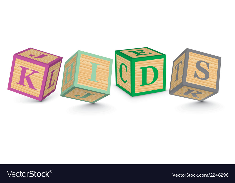 Word kids written with alphabet blocks vector | Price: 1 Credit (USD $1)