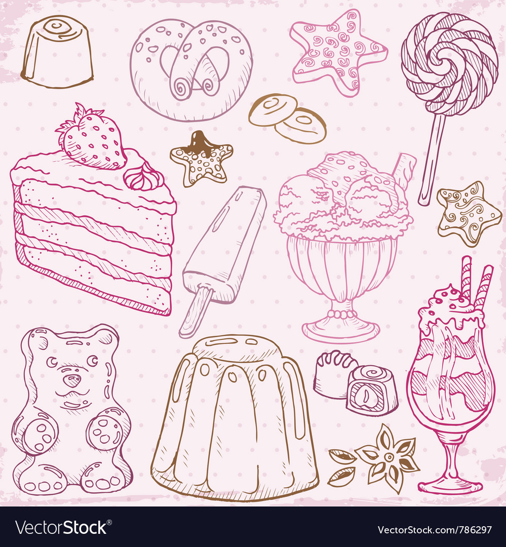Cakes sweets and desserts vector   Price: 1 Credit (USD $1)