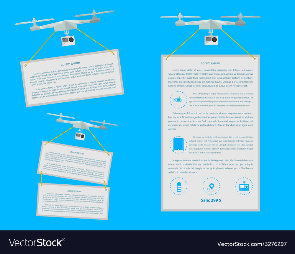 Flat icons for quardocopter advertising vector | Price: 1 Credit (USD $1)