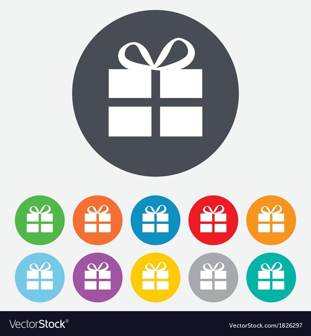 Gift box sign icon present symbol vector | Price: 1 Credit (USD $1)