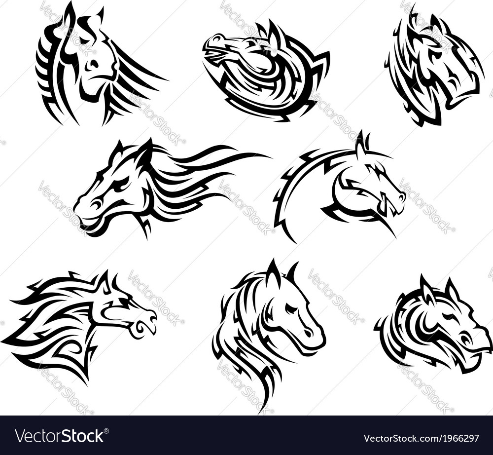 Horse head tribal tattoos vector | Price: 1 Credit (USD $1)
