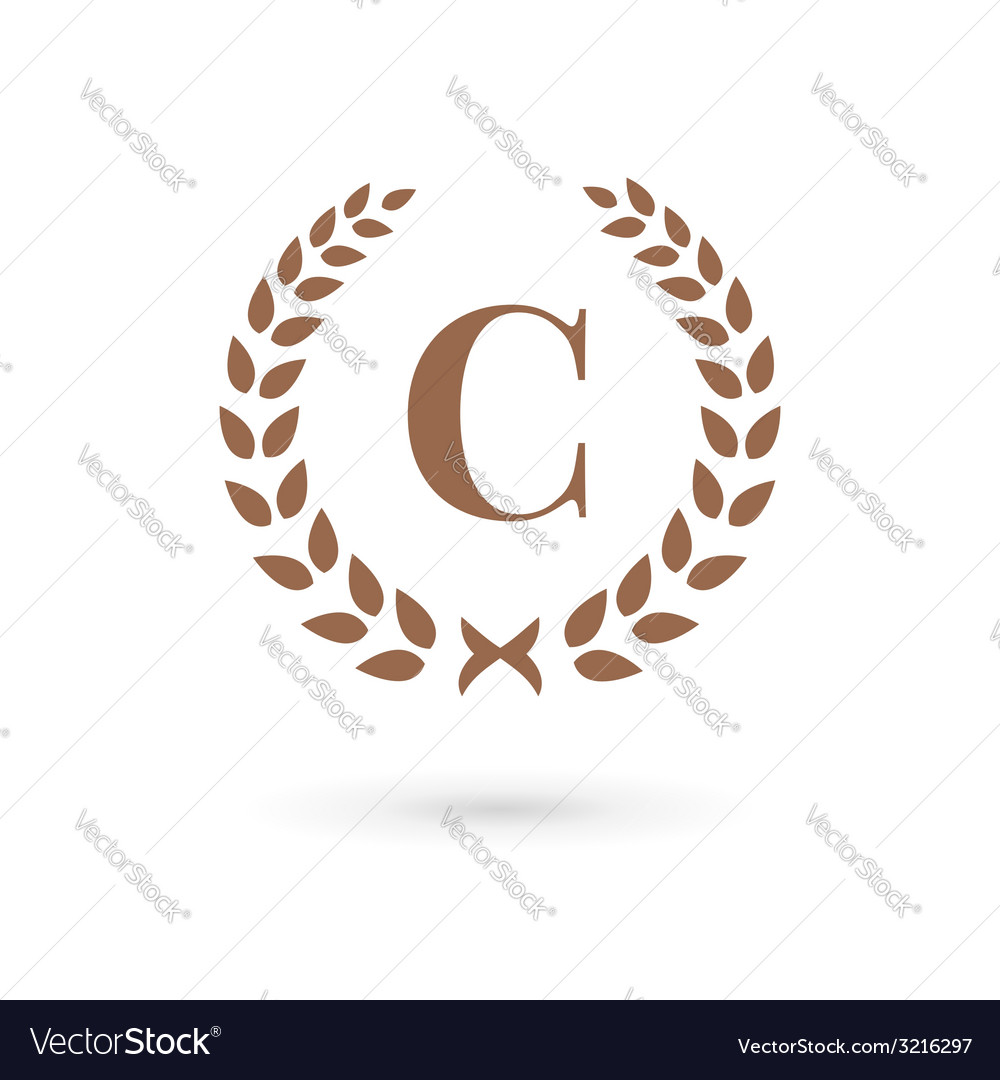 Letter c laurel wreath logo icon design template vector | Price: 1 Credit (USD $1)