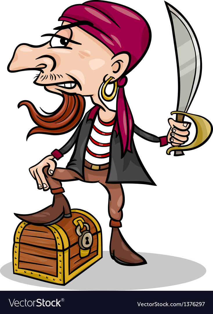 Pirate with treasure cartoon vector | Price: 1 Credit (USD $1)