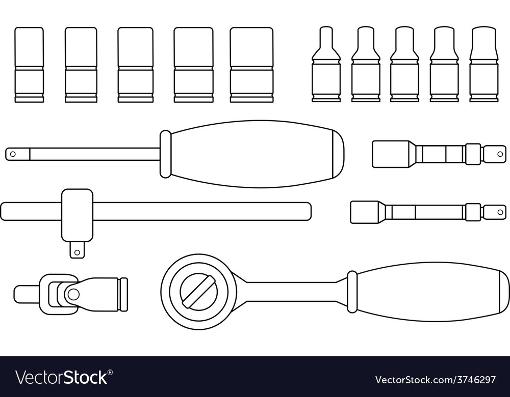 Ratchet and socket icon set contour vector