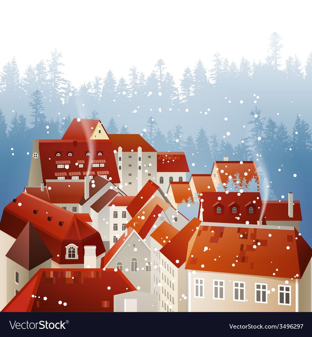 Winter city landscape vector   Price: 1 Credit (USD $1)