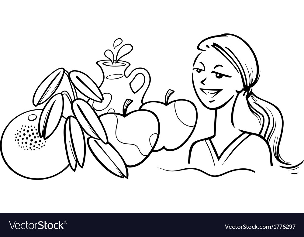 Woman with healthy breakfast vector | Price: 1 Credit (USD $1)