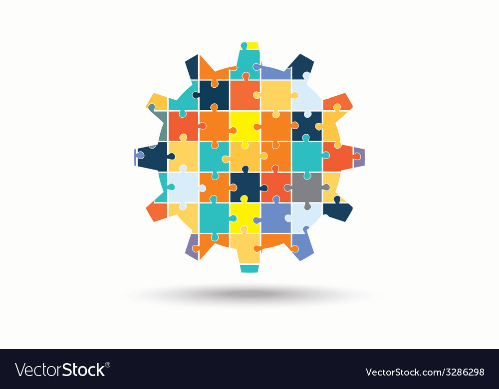 Abstract gear made of puzzle pieces vector | Price: 1 Credit (USD $1)