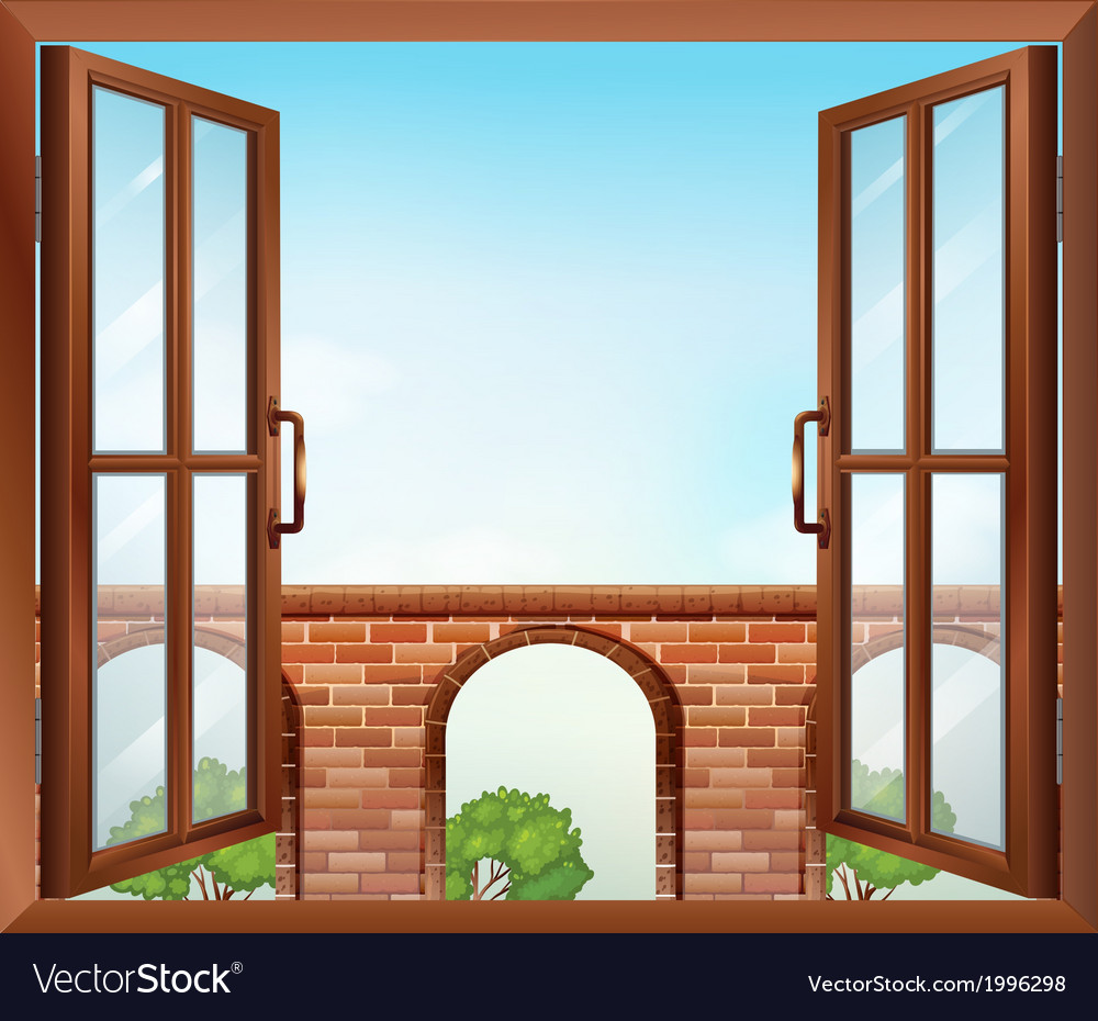 An open window with a view of the gate vector | Price: 1 Credit (USD $1)