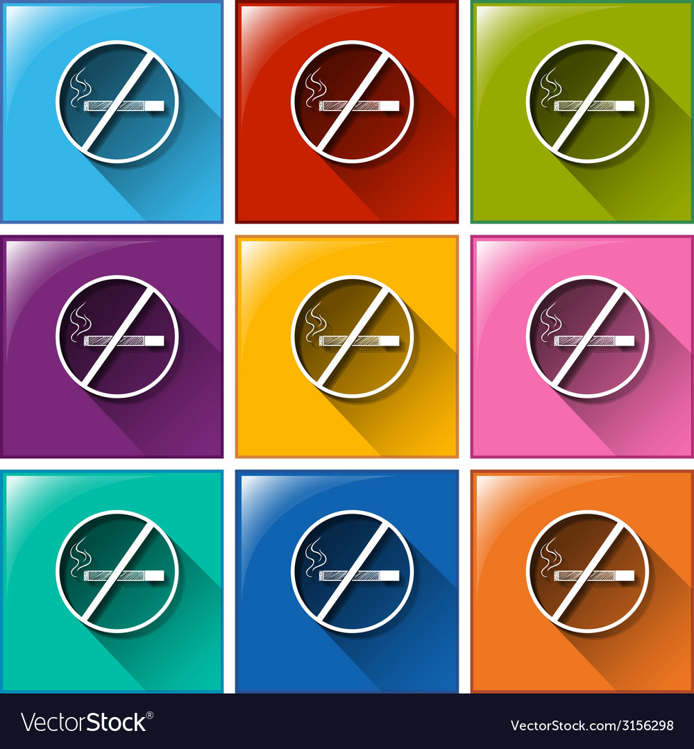 Buttons with no smoking sign vector | Price: 1 Credit (USD $1)