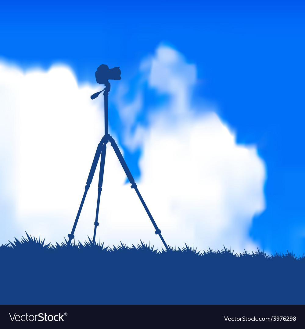 Camera on a tripod vector | Price: 1 Credit (USD $1)