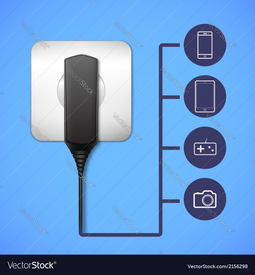 Charger into an electrical outlet vector | Price: 1 Credit (USD $1)
