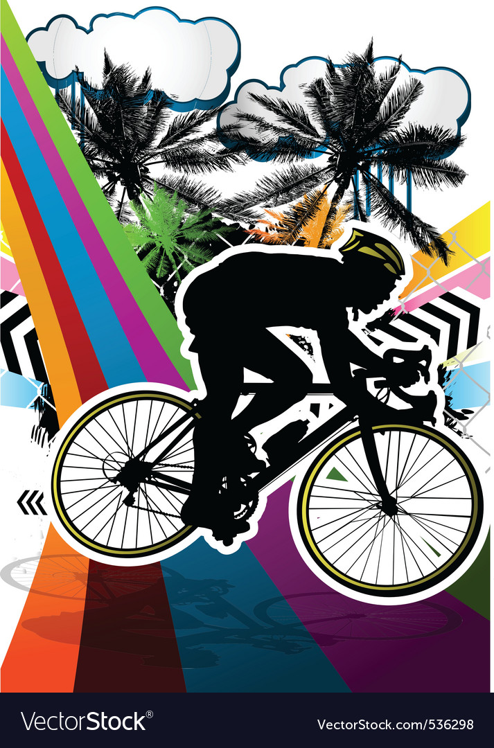 Cyclist summer background vector | Price: 1 Credit (USD $1)