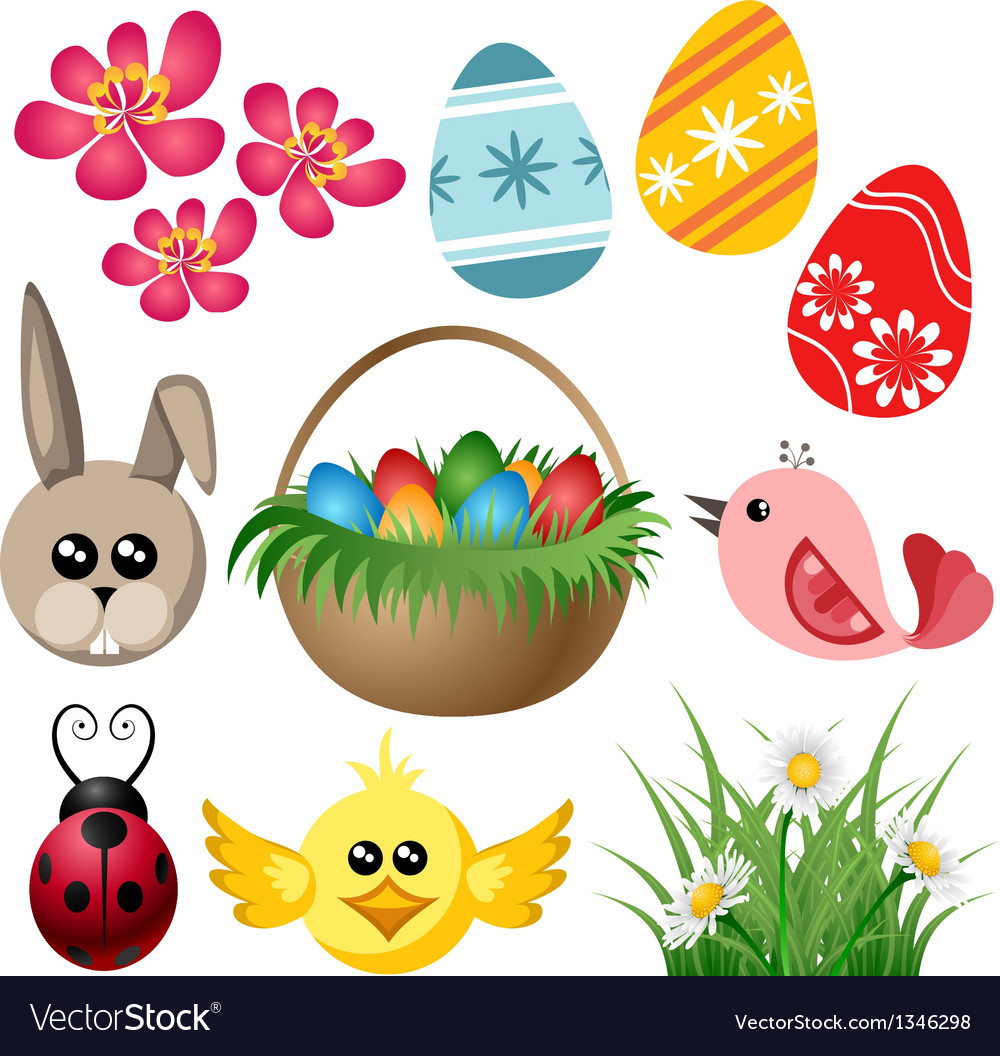 Easter symbol set vector   Price: 1 Credit (USD $1)