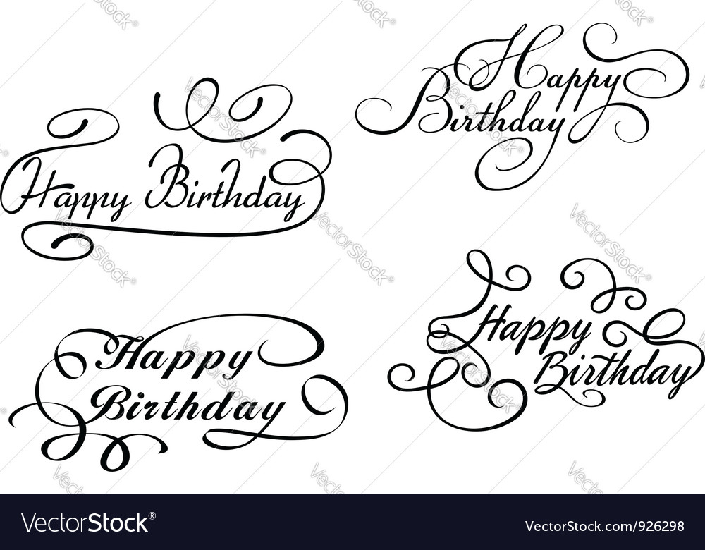 Happy birthday calligraphic embellishments vector | Price: 1 Credit (USD $1)