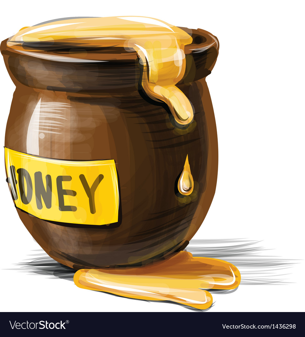 Honey pot isolated on white background vector | Price: 1 Credit (USD $1)