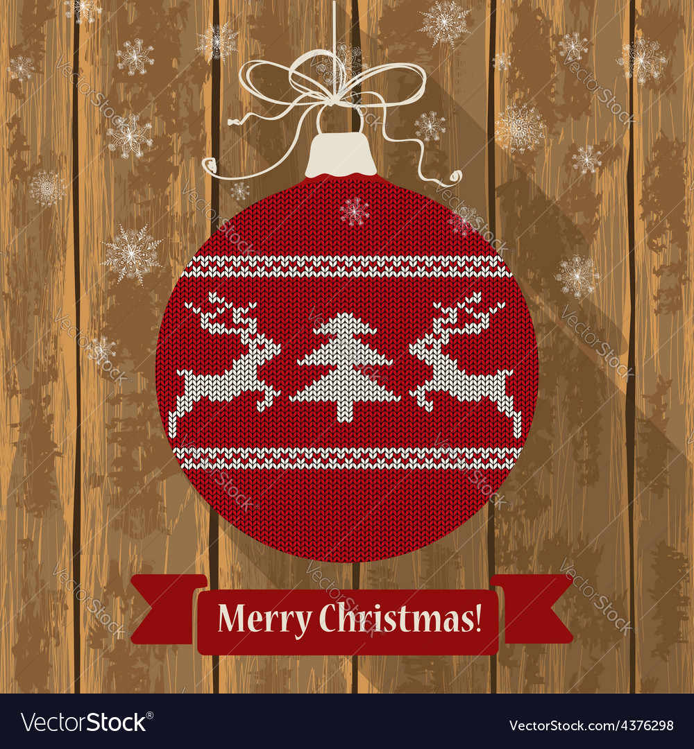 Knitted christmas ball with deers vector | Price: 1 Credit (USD $1)