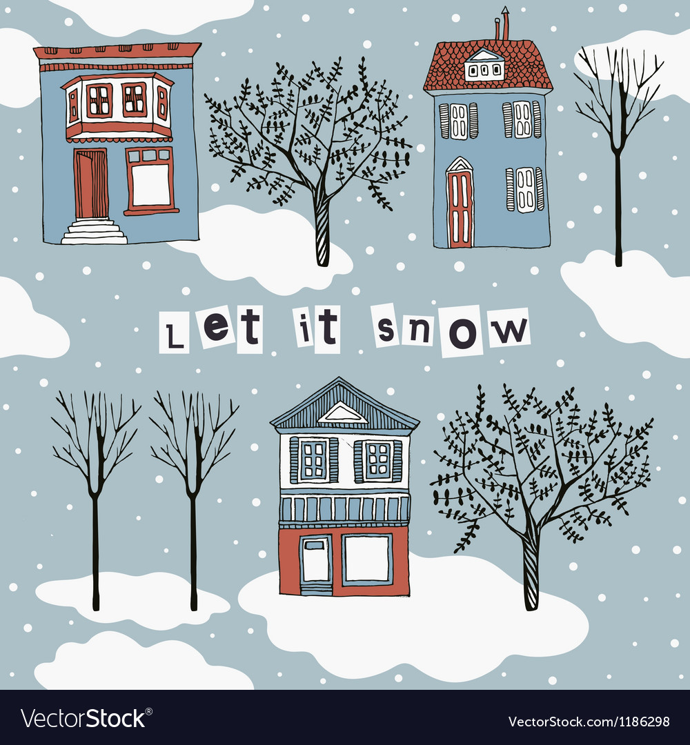 Let it snow card vector | Price: 1 Credit (USD $1)