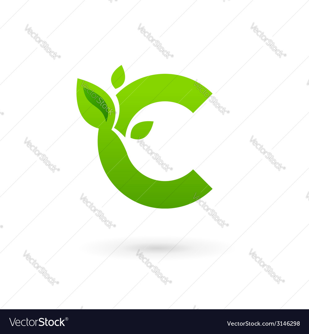 Letter c eco leaves logo icon design template vector | Price: 1 Credit (USD $1)