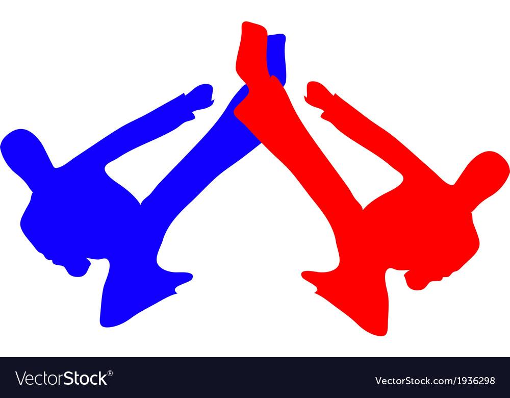 Martial art kick silhouette vector | Price: 1 Credit (USD $1)