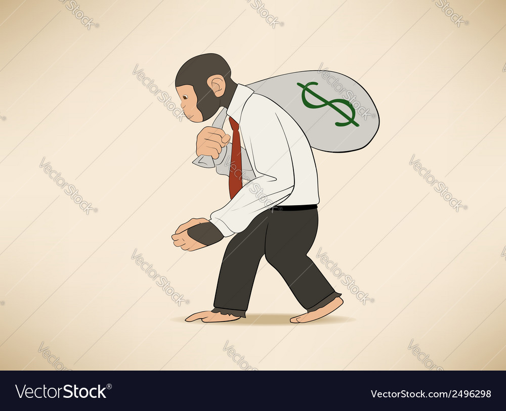 Monkey with money sack vector | Price: 1 Credit (USD $1)