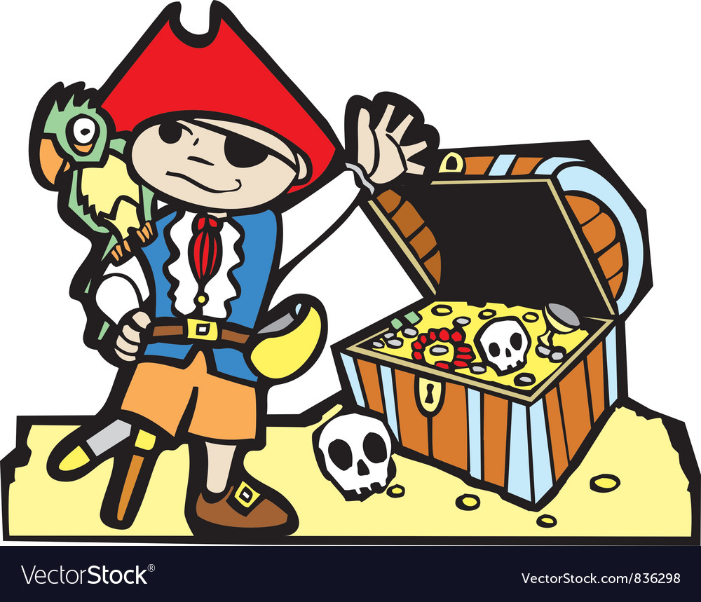 Pirate with treasure chest vector | Price: 1 Credit (USD $1)