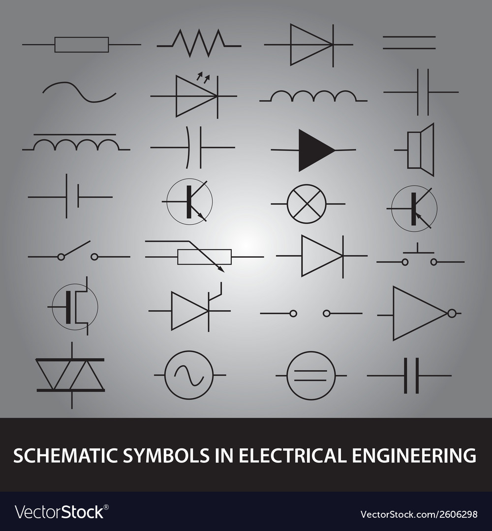 Schematic symbols in electrical engineering icon vector | Price: 1 Credit (USD $1)