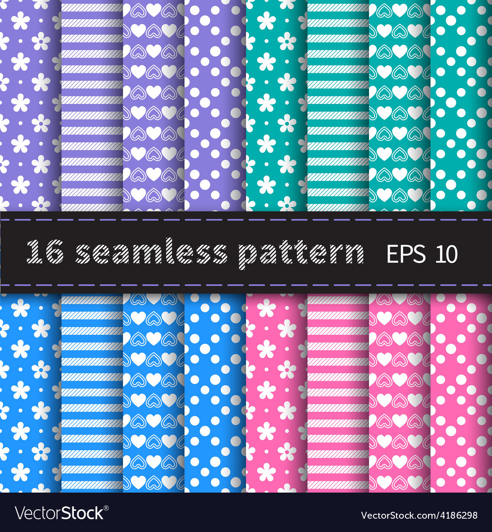 Set of 16 colorful seamless vector | Price: 1 Credit (USD $1)