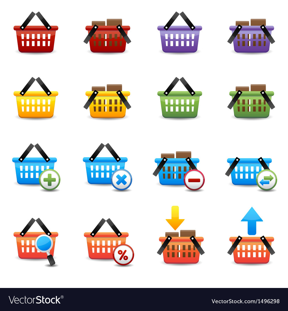 Shopping basket icons vector | Price: 3 Credit (USD $3)