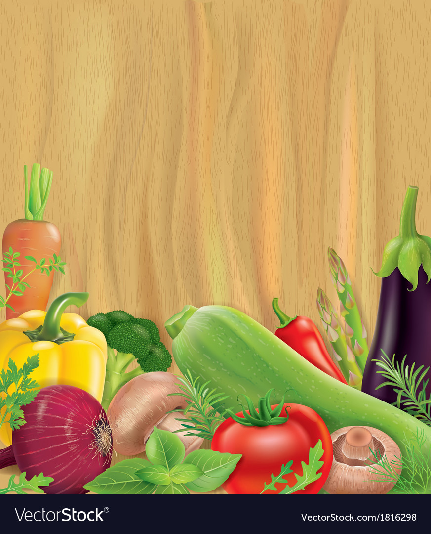 Vegetables on wooden board vector | Price: 1 Credit (USD $1)