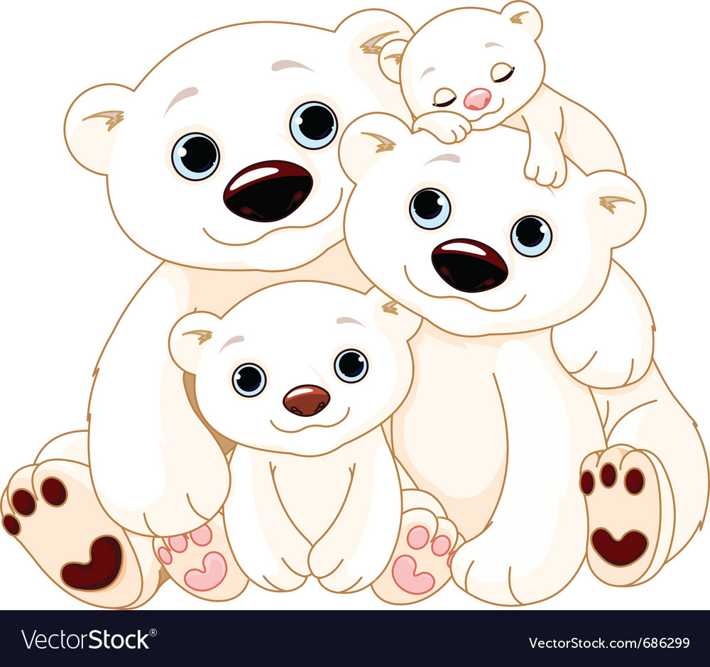 Big polar bear family vector | Price: 3 Credit (USD $3)