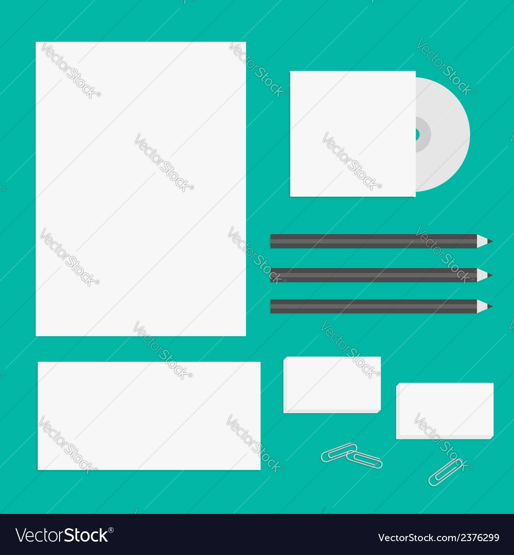 Blank letter pencil envelope cd business card vector | Price: 1 Credit (USD $1)