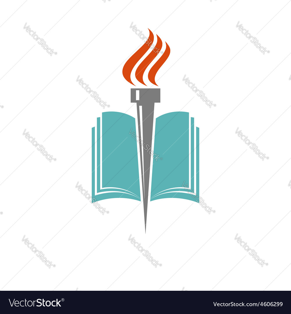 Book and torch education or library logo vector | Price: 1 Credit (USD $1)