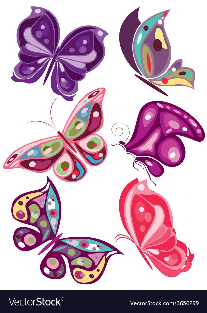 Butterflies in diferents colors 2 vector | Price: 1 Credit (USD $1)