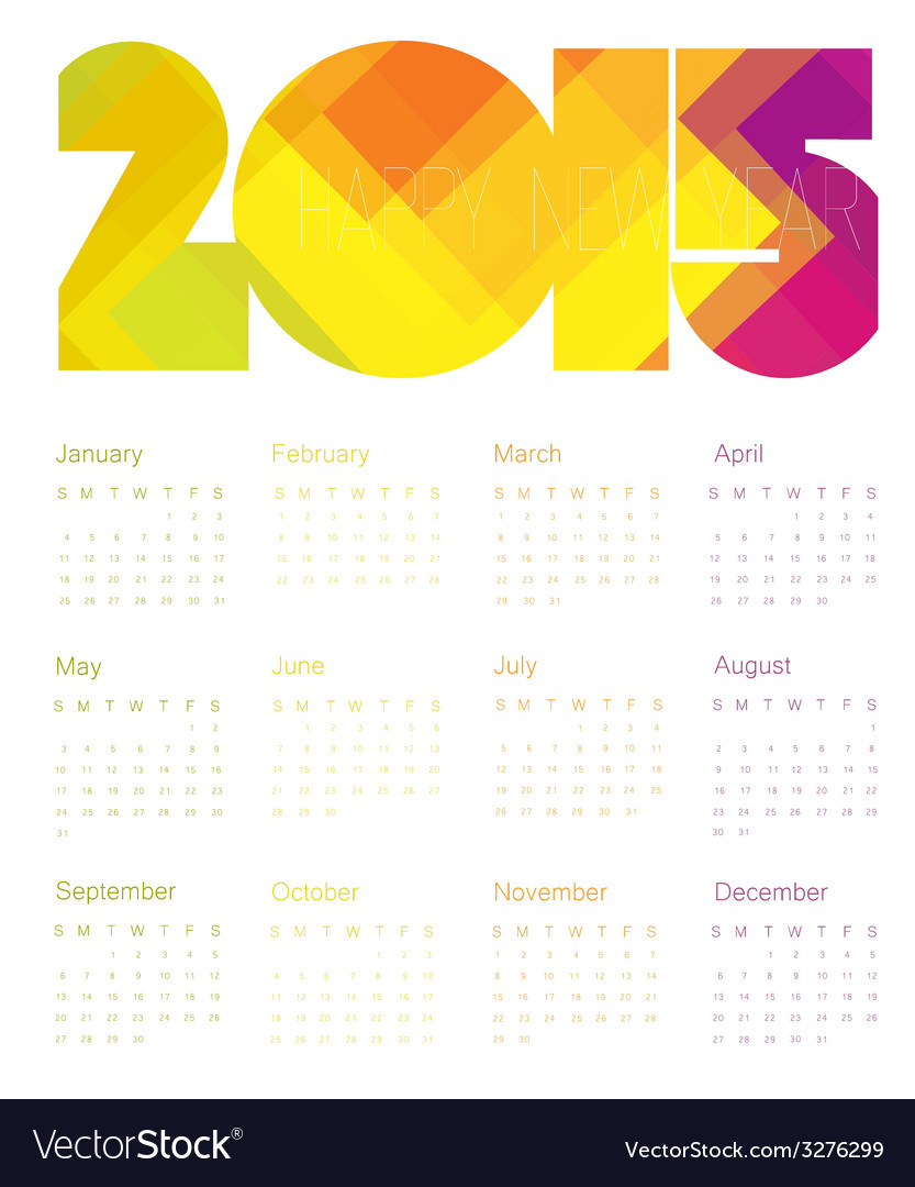 Calendar 2015 colorful vector | Price: 1 Credit (USD $1)