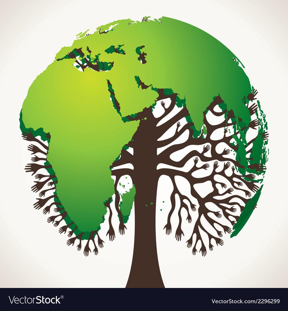 Green world map tree stock vector   Price: 1 Credit (USD $1)