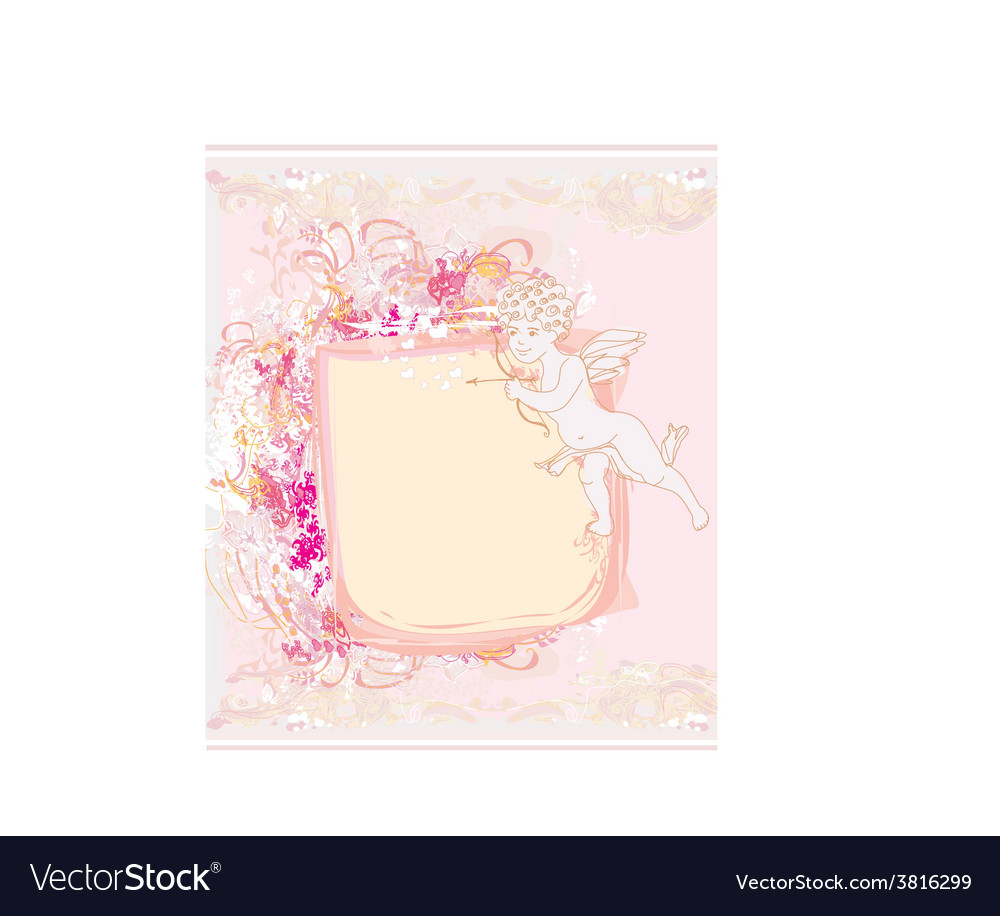 Happy valentines day card with cupid vector   Price: 1 Credit (USD $1)
