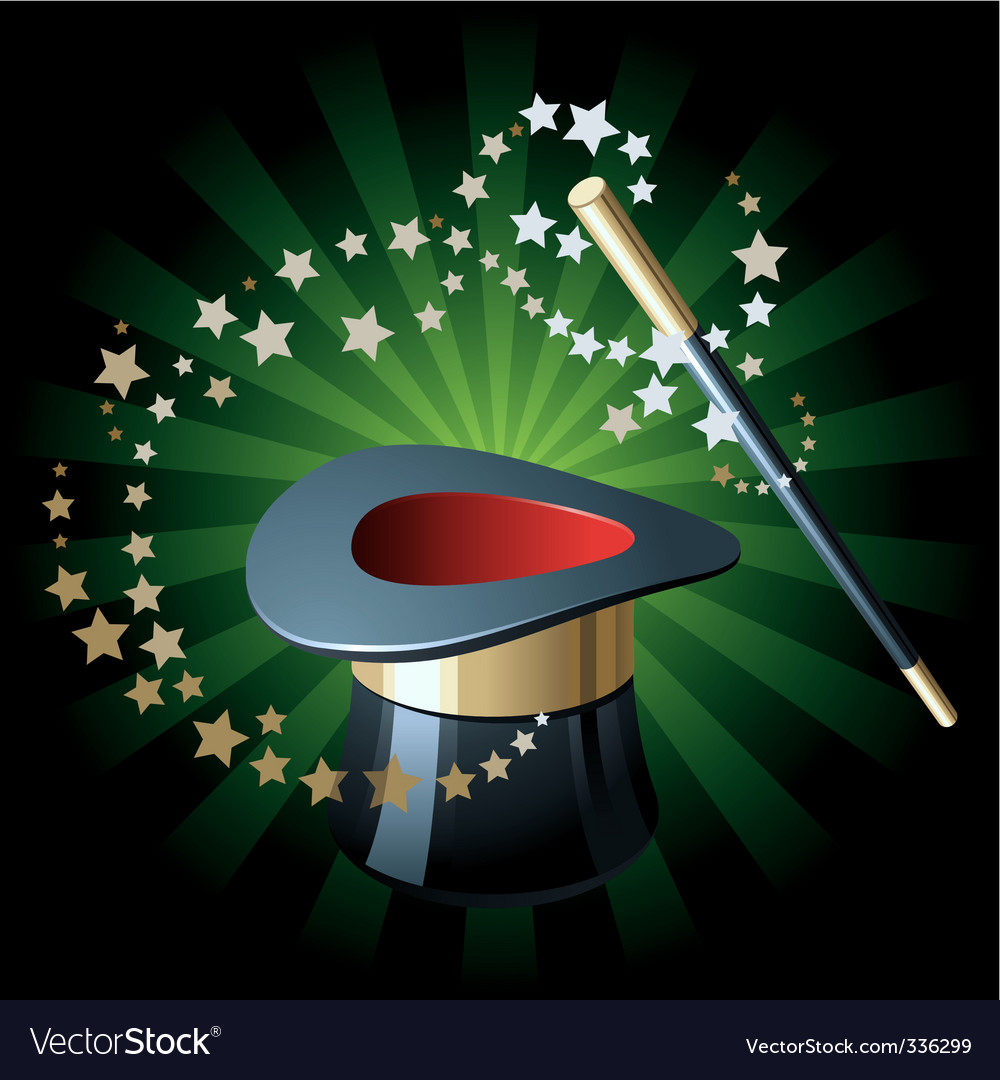 Magic hat and wand vector | Price: 1 Credit (USD $1)